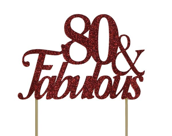 Red 80 & Fabulous Cake Topper