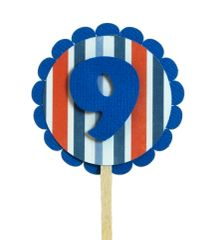 Blue & Stripes 9 Cupcake Toppers