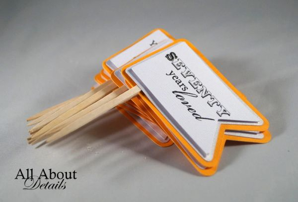 Melon Orange 70th Birthday Quotes Cupcake Toppers