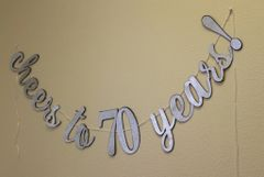 Black & Silver Cheers to 70 Years! Cursive Banner