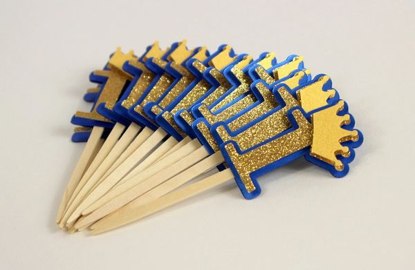 Royal Blue & Gold Crown Theme 1 Cupcake Toppers