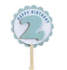 Shimmer Light Blue 2nd Birthday Cupcake Toppers