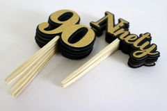 Black & Gold Ninety Cupcake Toppers