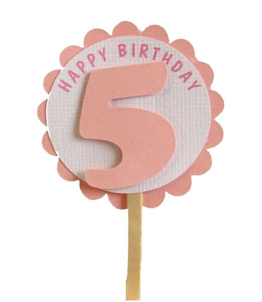Shimmer Pink 5th Birthday Cupcake Toppers