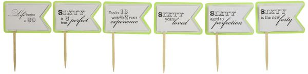 Lime Green 60th Birthday Quotes Cupcake Toppers