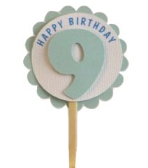Shimmer Light Blue 9th Birthday Cupcake Toppers
