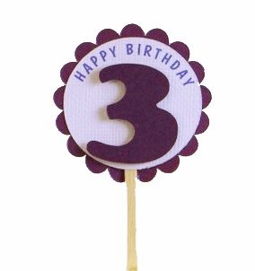Shimmer Purple 3rd Birthday Cupcake Toppers