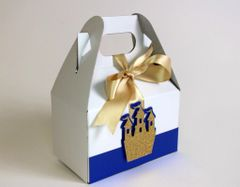 Royal Blue & Gold Prince Palace Favor Box-4in, Set of 10pcs