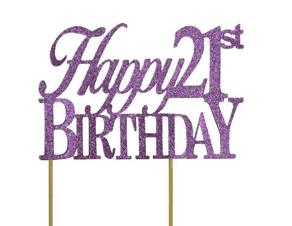 Purple Happy 21st Birthday Cake Topper