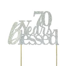 Silver 70 Years Blessed Cake Topper