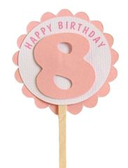 Shimmer Pink 8th Birthday Cupcake Toppers