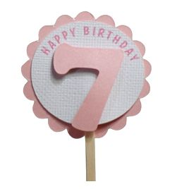 Shimmer Pink 7th Birthday Cupcake Toppers