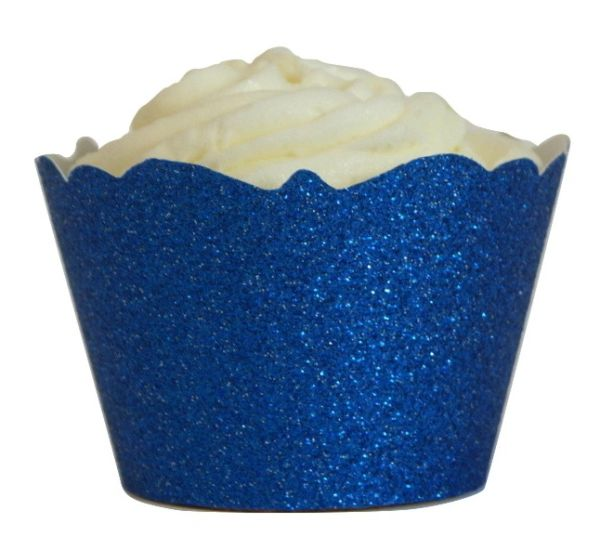 Blue Glitter Cupcake Wrappers