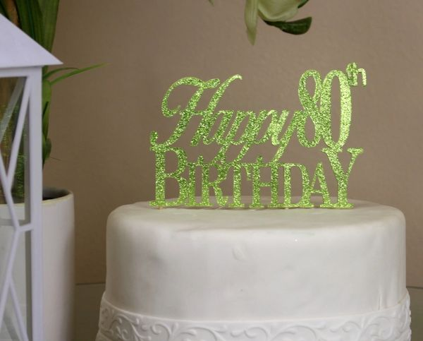 Lime Green Happy 80th Birthday Cake Topper