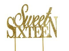 Gold Sweet Sixteen Cake Topper