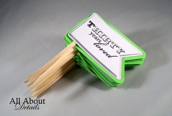 Lime Green 30th Birthday Quotes Cupcake Toppers