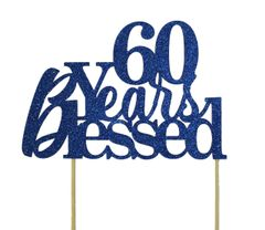 Blue 60 Years Blessed Cake Topper