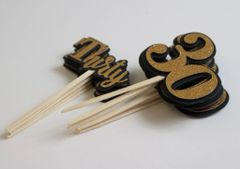 Black & Gold Thirty Cupcake Toppers