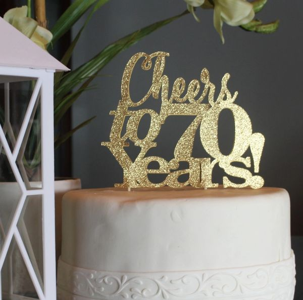 All About Details Gold Cheers To 70 Years Cake Topper