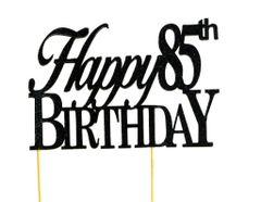 Black Happy 85th Birthday Cake Topper