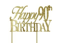 Gold Happy 90th Birthday Cake Topper