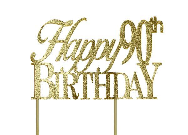 Gold Happy 90th Birthday Cake Topper