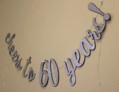 Black & Silver Cheers to 60 Years! Cursive Banner