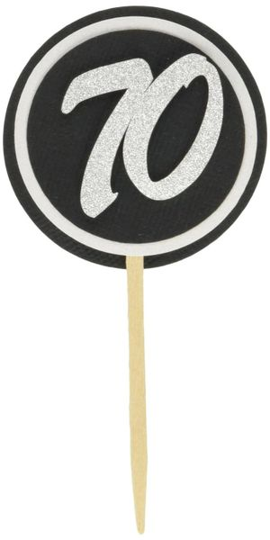 Black & White 70 Cupcake Toppers