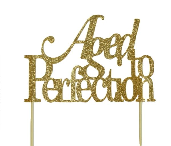 Gold Aged to Perfection Cake Topper
