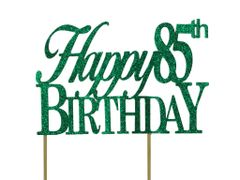 Green Happy 85th Birthday Cake Topper