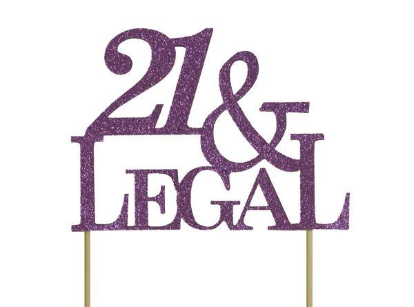 Purple 21 & Legal Cake Topper