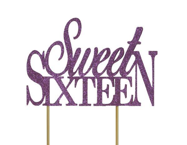 Purple Sweet Sixteen Cake Topper