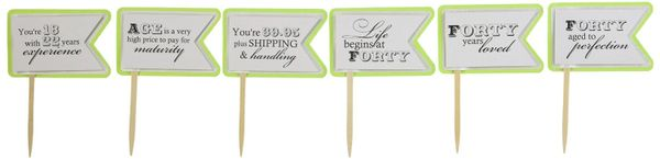 Lime Green 40th Birthday Quotes Cupcake Toppers