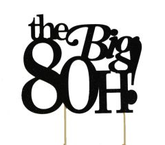 Black The Big 8OH! Cake Topper