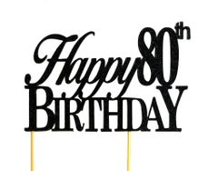 Black Happy 80th Birthday Cake Topper