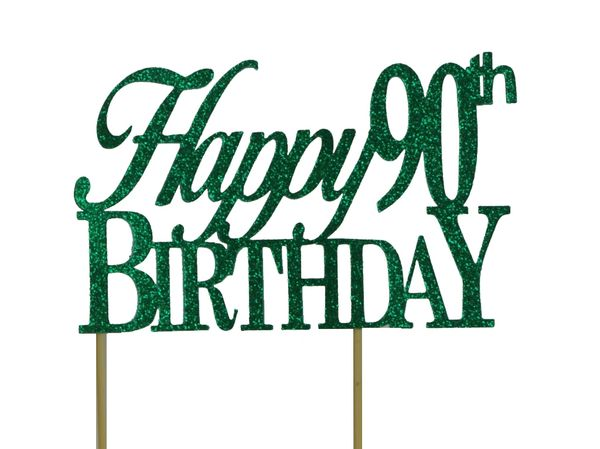 Green Happy 90th Birthday Cake Topper