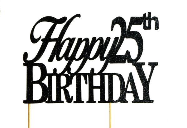 Black Happy 25th Birthday Cake Topper