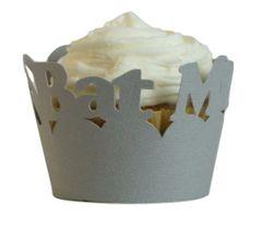 Gray Bat Mitzvah Cupcake Wrappers