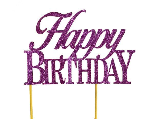Purple Happy Birthday Cake Topper