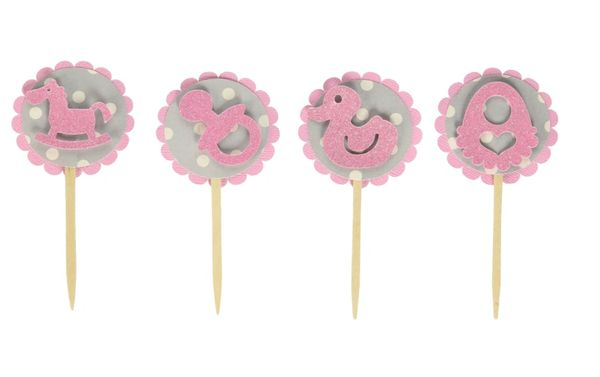 Bubblegum Pink & Gray Dots Baby Shower Cupcake Toppers