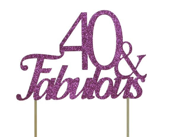 Pink 40 & Fabulous Cake Topper