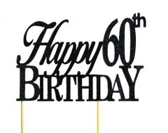 Black Happy 60th Birthday Cake Topper