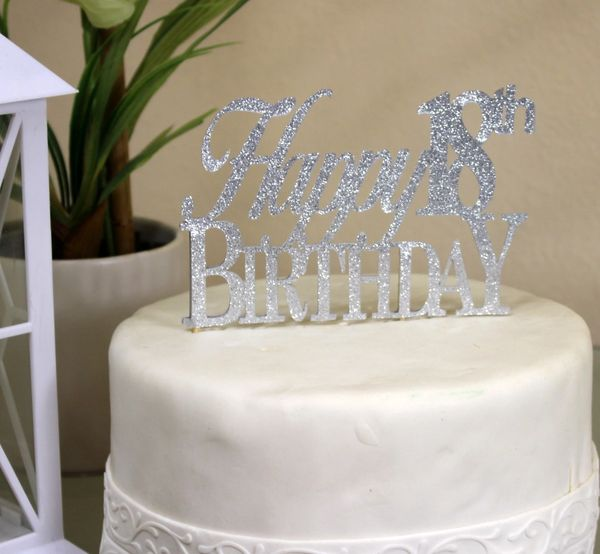 Silver Happy 18th Birthday Cake Topper