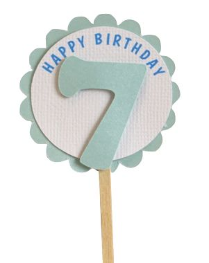 Shimmer Light Blue 7th Birthday Cupcake Toppers