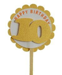 Shimmer Gold 10th Birthday Cupcake Toppers