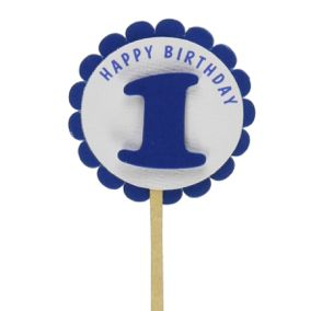 Shimmer Blue 1st Birthday Cupcake Toppers