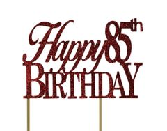 Red Happy 85th Birthday Cake Topper