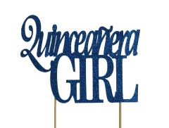 Blue Quinceanera Girl Cake Topper