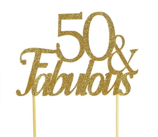 Gold 50 & Fabulous Cake Topper