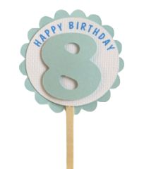 Shimmer Light Blue 8th Birthday Cupcake Toppers